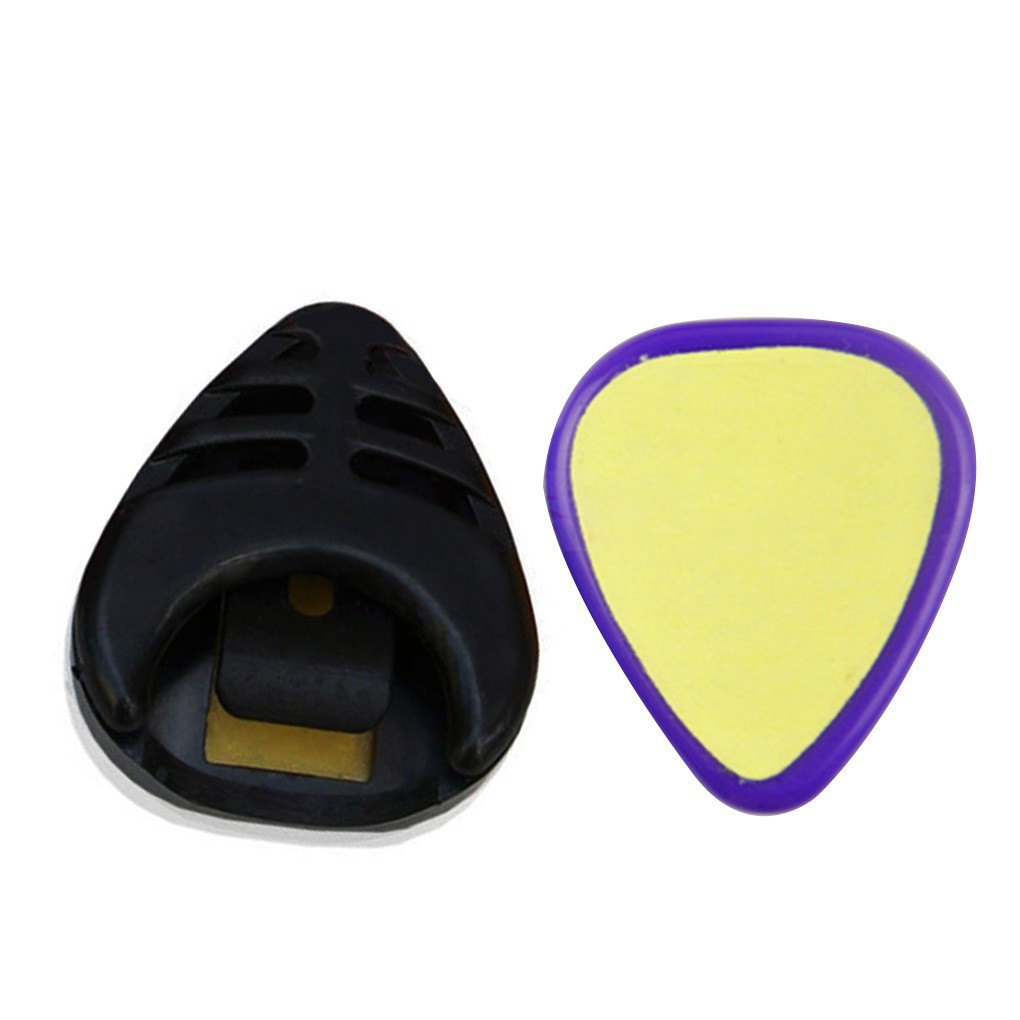 10pcs Plastic Guitar Pick Holder Self-adhesive Guitar Plectrum Case Random