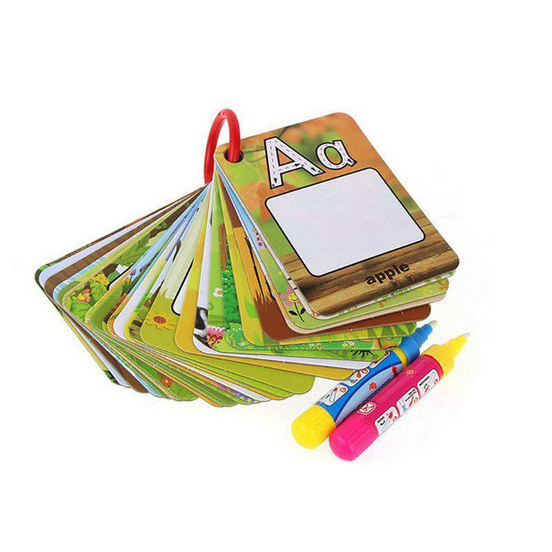 Kids Water Drawing Card English Letter Reusable Painting toys with 2 pens
