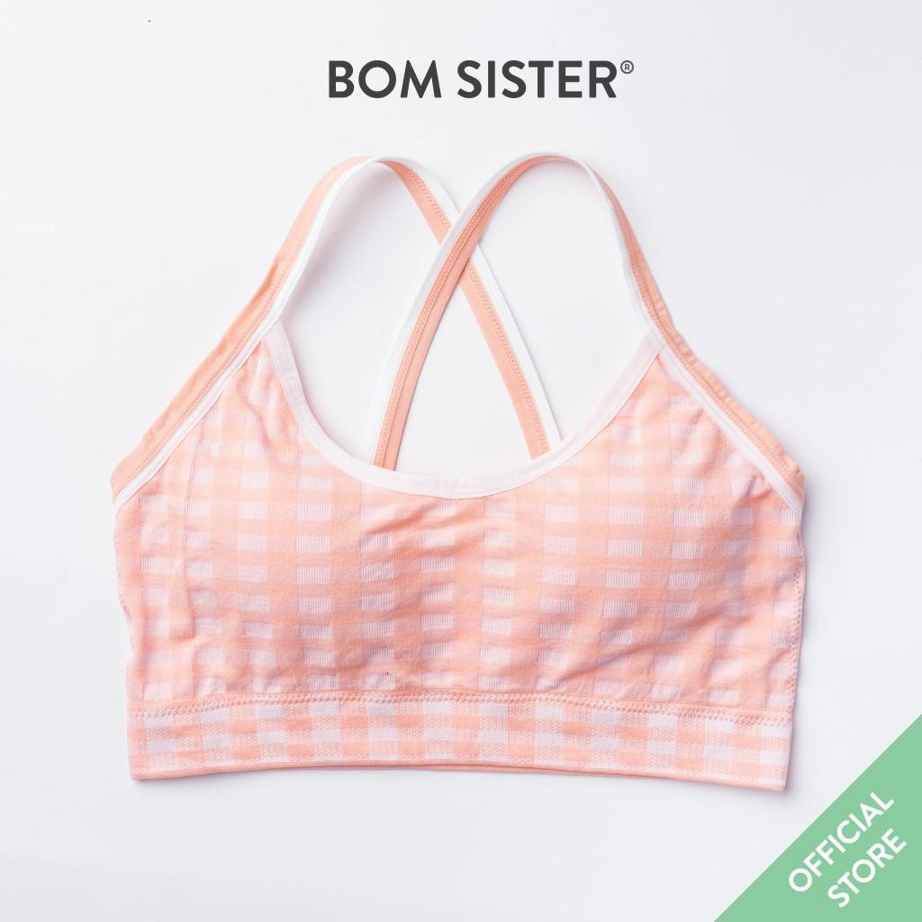 Áo Lót Mút Mỏng Cotton Caro Không Gọng Thể Thao BOM SISTER BR5511