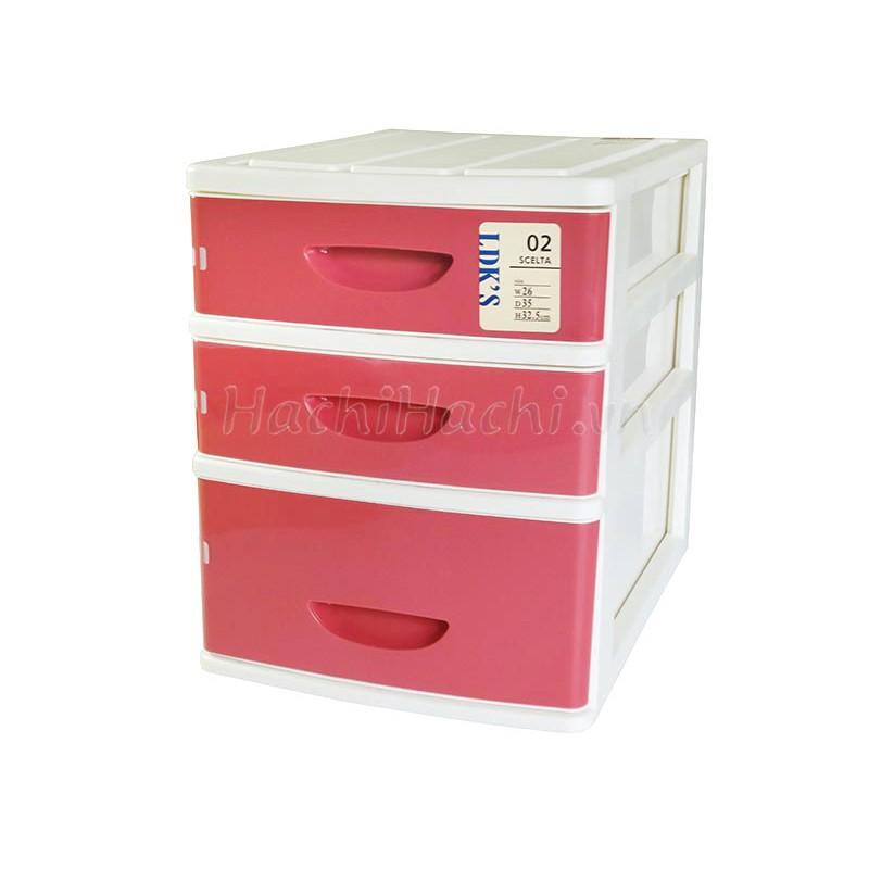 Tủ nhựa 3 ngăn Sanka - Hồng 26X35X32.5CM
