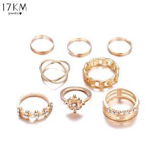 Bộ nhẫn 17KM màu vàng nhiều lớp phối pha lê phong cách cổ điển