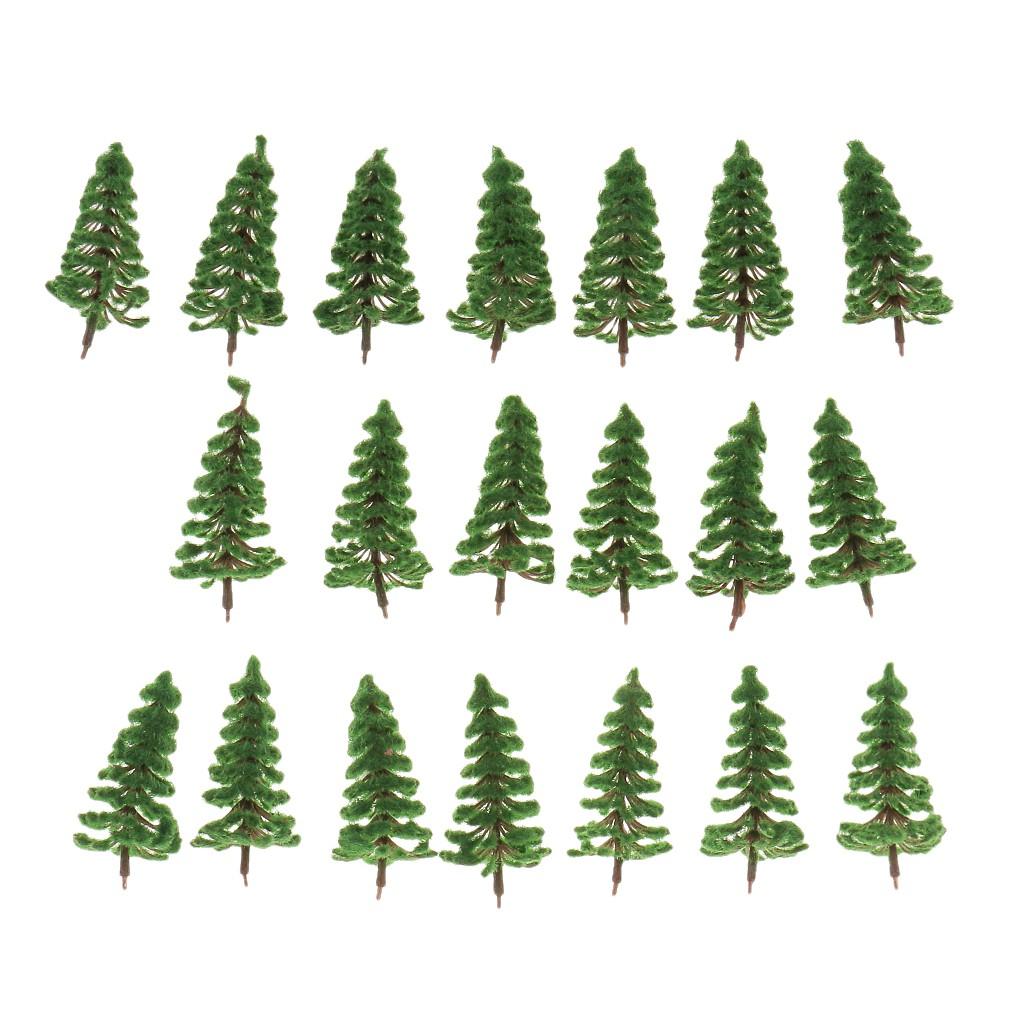20pcs Model Deep Green Trees Train Railway Scenery Layout 1:150 N Scale 8cm