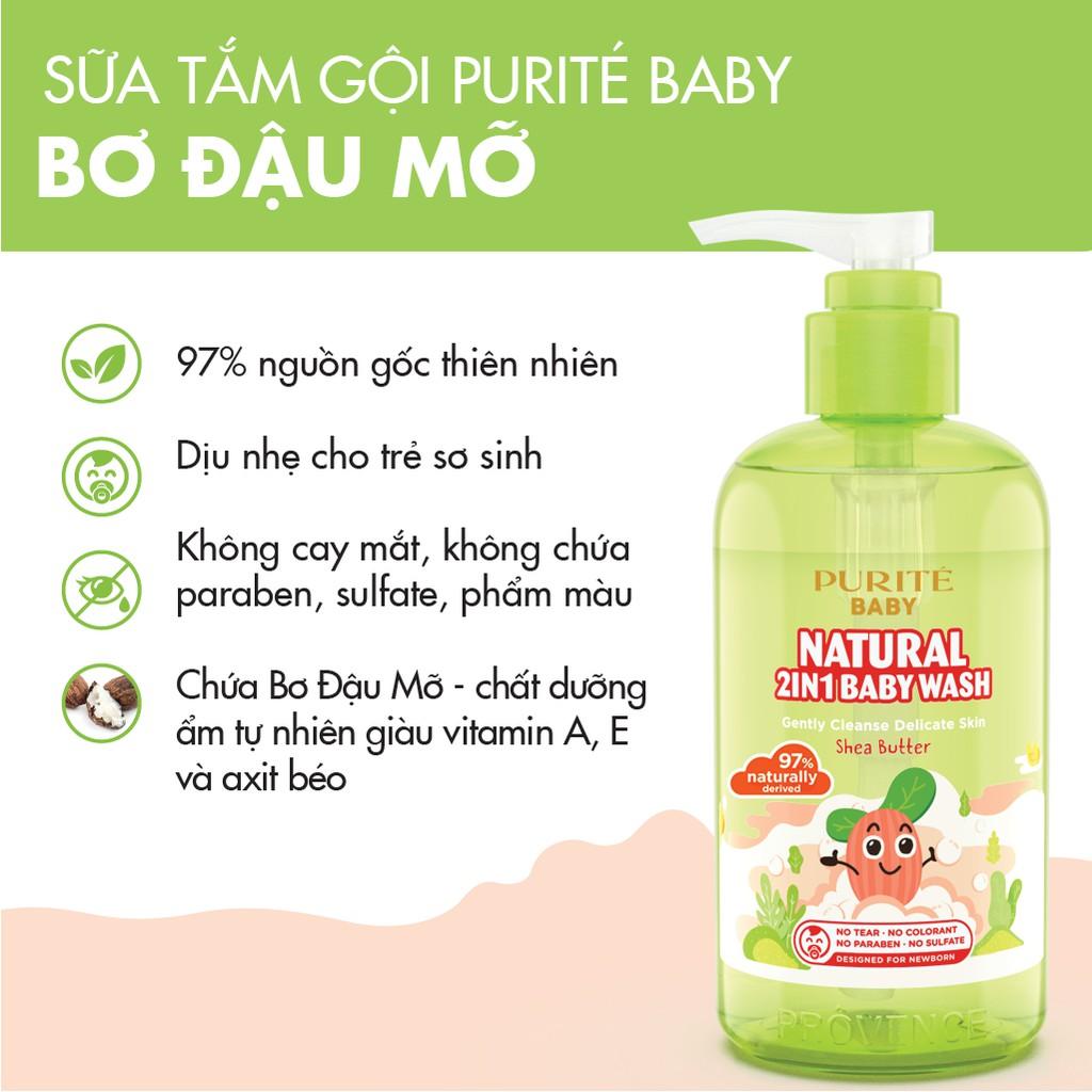 Kết quả hình ảnh cho Sữa Tắm Gội Thiên Nhiên Purité Baby Bơ Đậu Mỡ 250ml