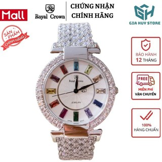 Đồng hồ nữ đẹp , đồng hồ nữ chính hãng ROYAL CROWN dây thép đính đá ngũ sắc - Bảo hành 12 tháng thumbnail