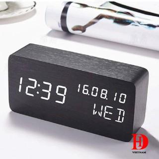 [SIÊU SALE] Đồng hồ điện tử báo thức vỏ gỗ khối chữ nhật