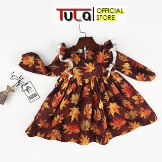 Váy Đầm Bé Gái Vai Xòe Đáng Yêu Vải Thô Hàn Quốc Cực Yêu