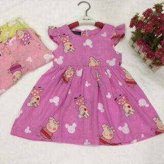 Váy lanh 3 màu cho bé nữ