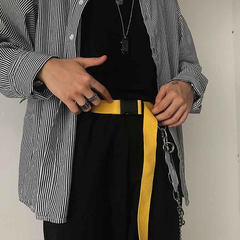Dây thắt lưng vải canvas màu trơn phối khoá gài phong cách thời trang 2020