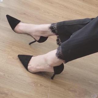 [Mã FASHIONRNK giảm 10K đơn 50K] [Kèm video ảnh thật] Giày gót nhọn 8-9p da lộn mũi nhọn phối trong hàng VNXK cao cấp thumbnail