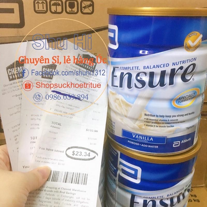 Sữa Ensure Úc 850g vị vanilla date Xa