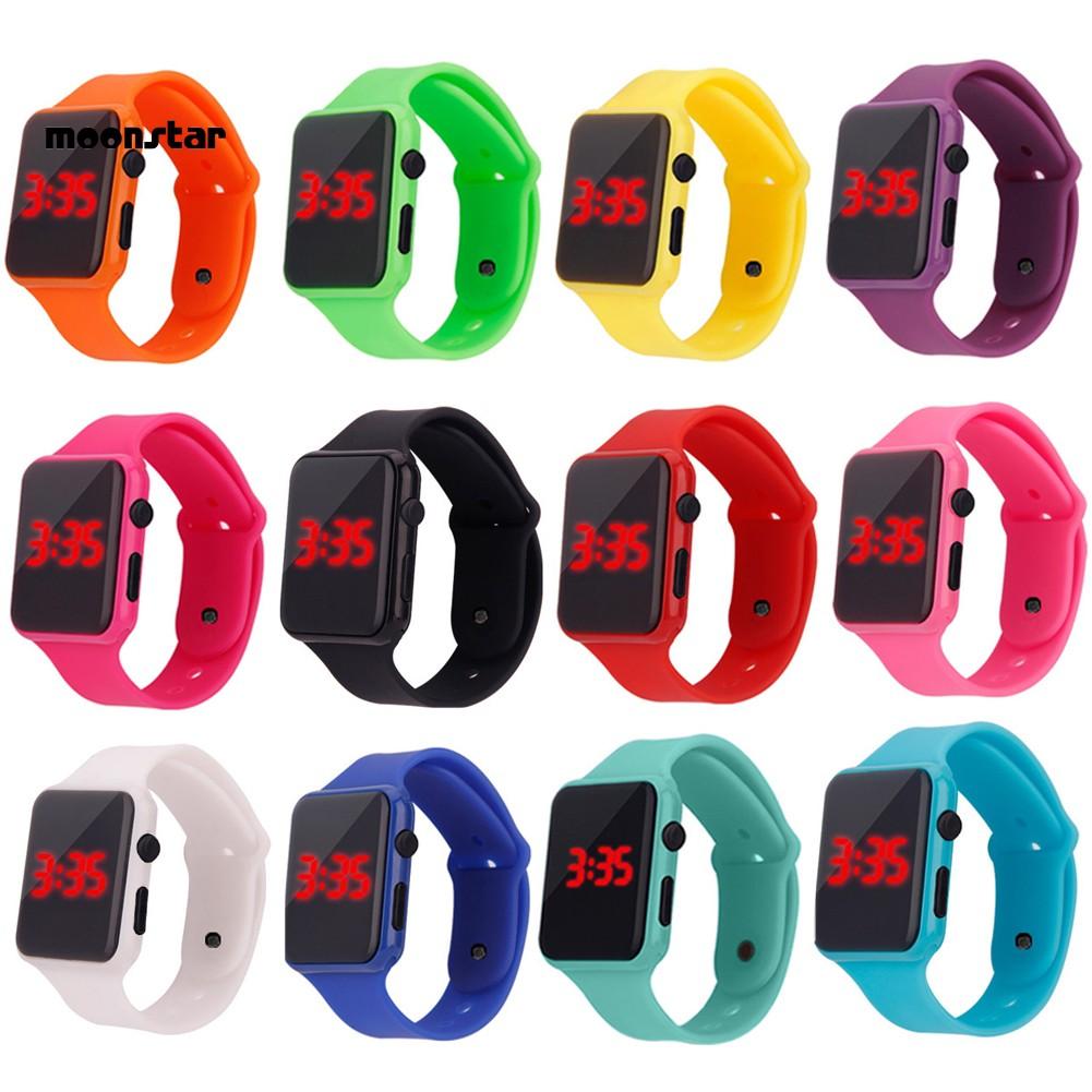 Đồng hồ điện tử mặt vuông đèn LED dây đeo cao su