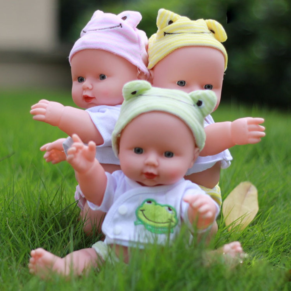 Cozyroomsa Silicone Vinyl Dolls 30cm Reborn Baby Girls Handmade Lifelike Toys w/Cloth