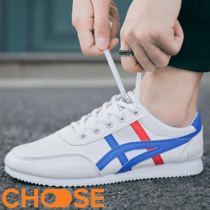 Giày Nam Giày Lười Giày Thể Thao Nam Màu trắng Viền Xanh Đỏ GK6K7