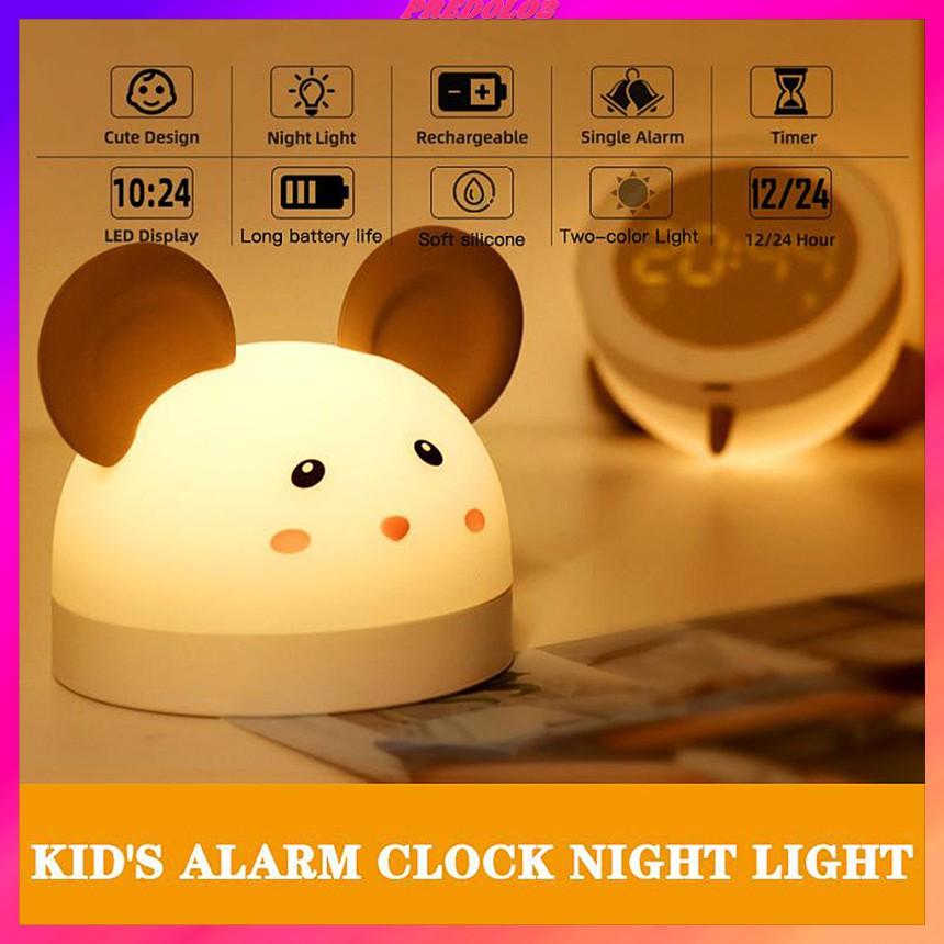 ED Kids Digital Alarm Clock Cute Table Rechargeable Nightlight Wake-up