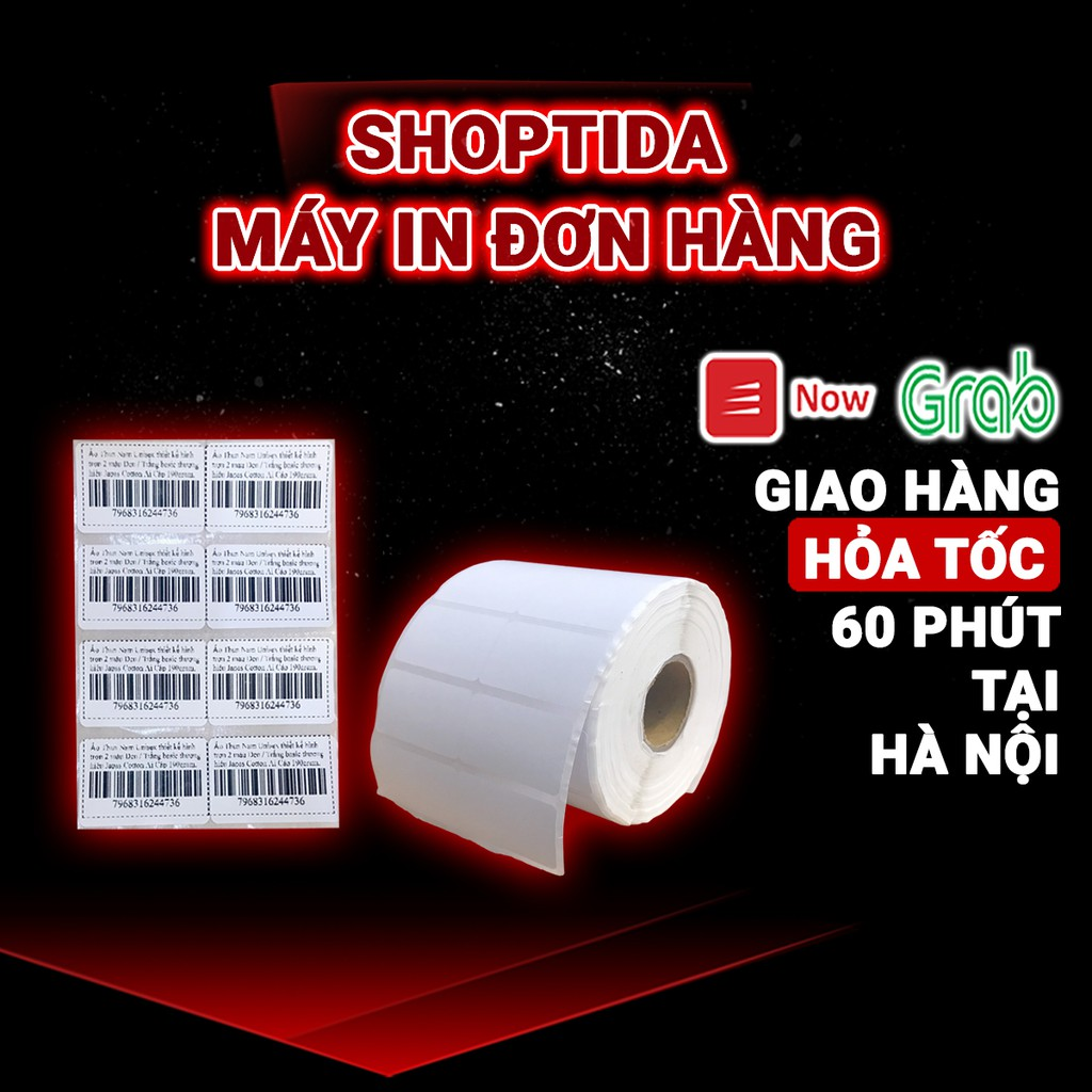Tem in nhiệt Shoptida loại 2400 tem 35*22mm in minicode, barcode, 2 tem 1 hàng, sử dụng cho máy in nhiệt Shoptida SP4