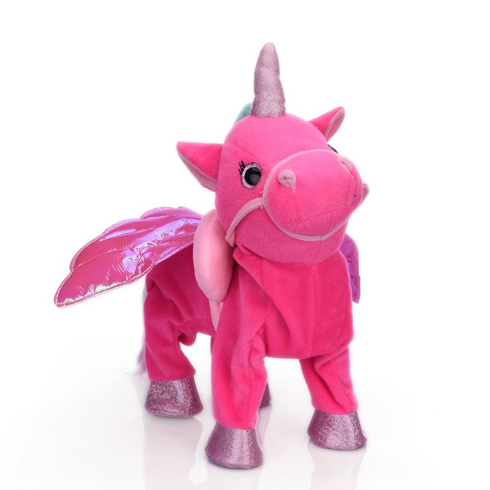 Cute Unicorn Leash Flying Horse Doll Can Walk Can Sing Electric Dragon Horse Plush Toy