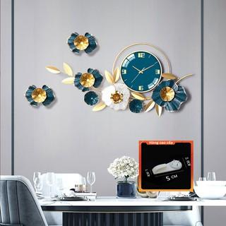 [QUÀ TẶNG LÀ 1 Đinh 4 Chân NHA BẠN dùng cho] Đồng Hồ Treo Tường Trang Trí Decor DK121 quartz hoa mai vàng cỡ lớn 3d