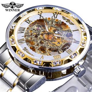 [Mã FAGREEN1505 giảm tới 30K đơn 99K] Đồng hồ cơ nam Winner W27 automatic lộ máy dây thép không gỉ độc đáo