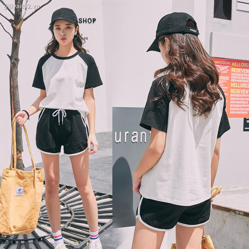 ∋┋Han edition color matching of leisure sport suit female summer 2019 new easing show thin two-piece sportswear stude