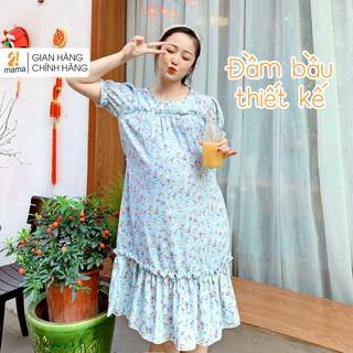 Váy bầu dự tiệc 2MAMA thiết kế đuôi cá dáng suông hoa nhí V46 thumbnail