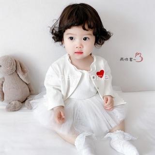 Set váy trắng kèm áo khoác cho bé