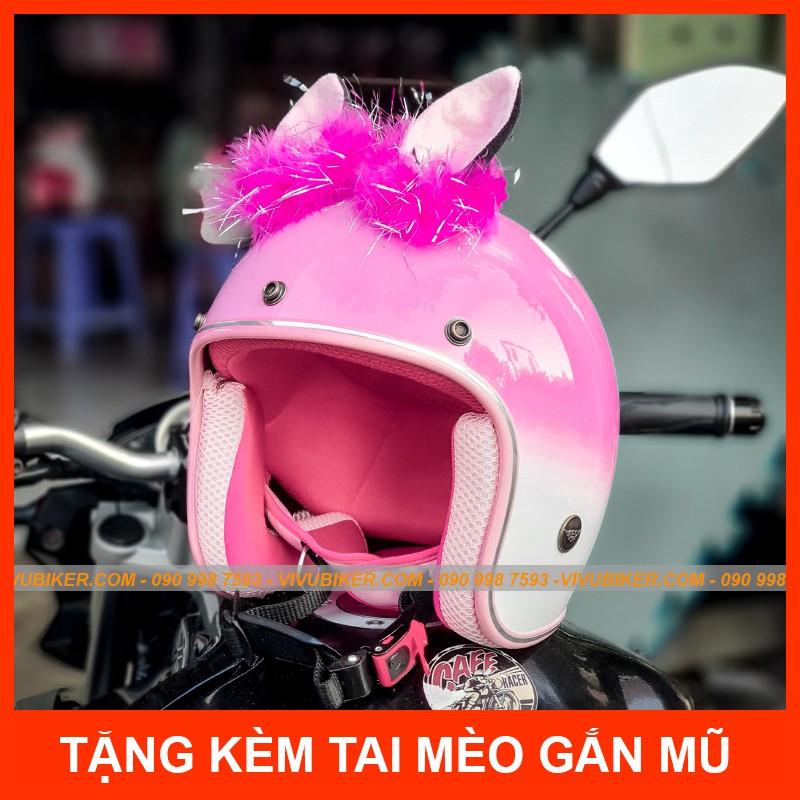 Mũ bảo hiểm tai mèo màu hồng loang trắng phiên bản giới hạn cực đẹp - Nón bảo hiểm 3/4 hồng pha trắng kèm tai mèo Thái