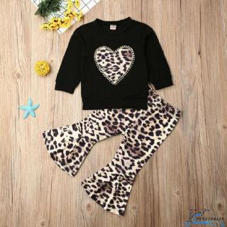 VD ❀Toddler Kids Baby Girls Tops T-shirts + Leopard Flared Pants Outfits Set Clothes Tracksuit 0-3Y
