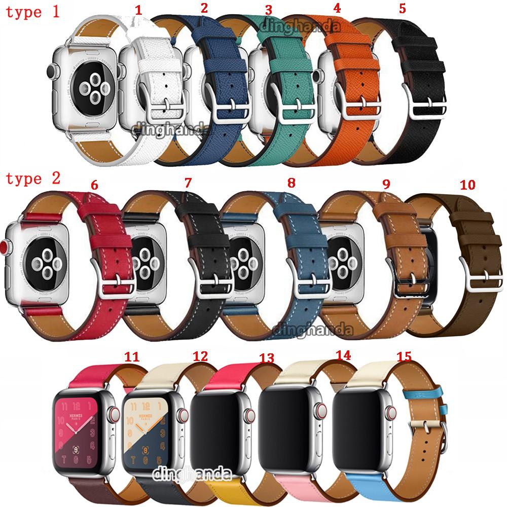 Dây đeo bằng da thật cho đồng hồ Apple 1 2 3 4 5 38mm 42mm 40mm 44mm