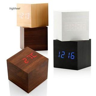 Đồng hồ báo thức bằng gỗ để bàn tích hợp nhiệt kế tiện dụng