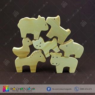 [FOLLOW 2B] Đồ chơi gỗ 100% Handmade Bộ 7 con vật nuôi bằng gỗ