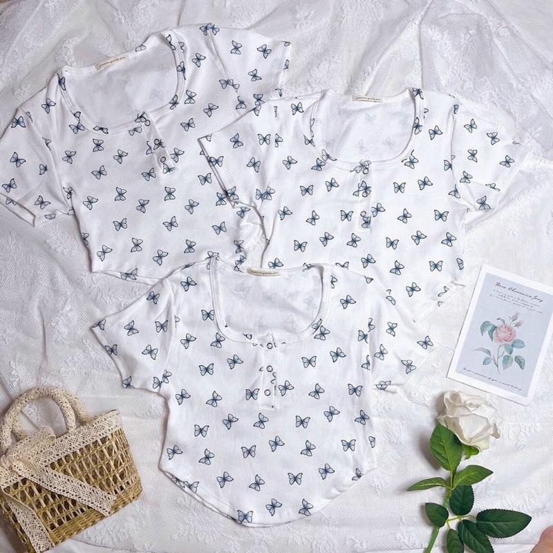Mặc gì đẹp: Gợi cảm với [Video] Áo croptop kiểu hoa nhí 🌸, bướm nhí 🦋, vạt bầu nút bấm siêu xinh ôm body P5132