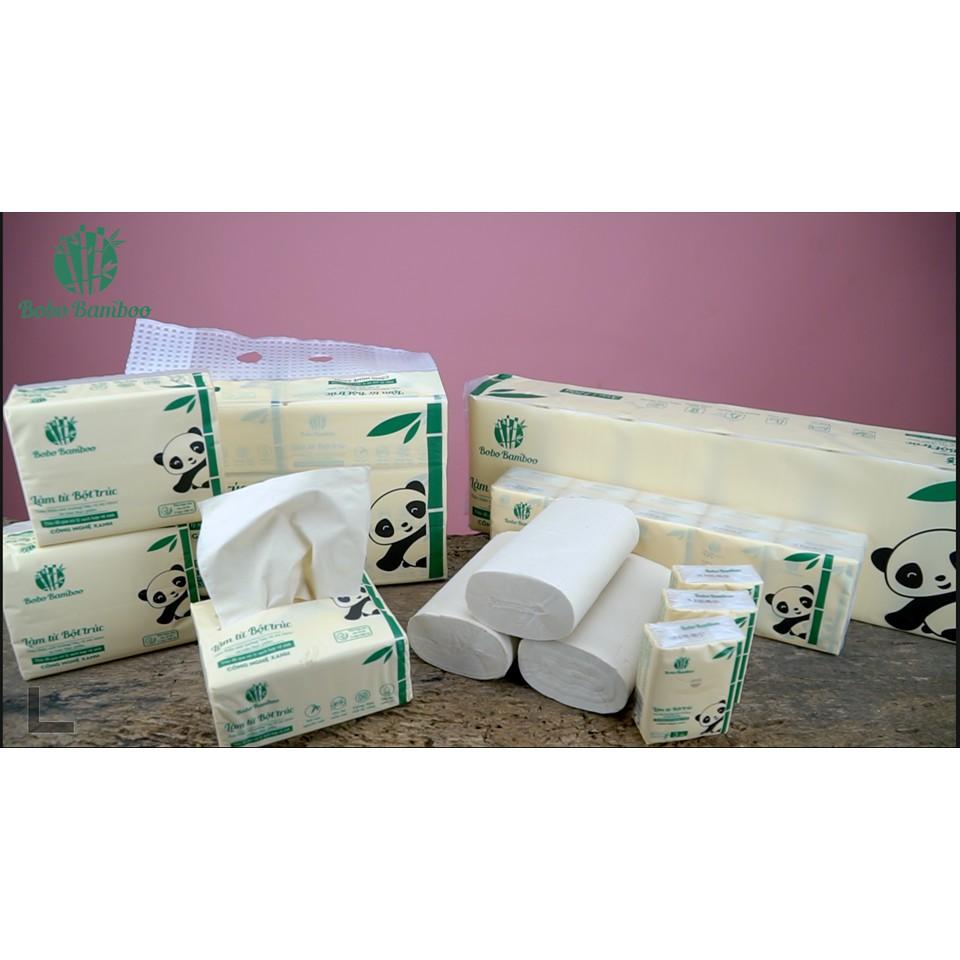 Combo 12 Gói giấy rút, 24 Cuộn giấy vệ sinh ko lõi, 20 gói bỏ túi Khăn Giấy Bobo B