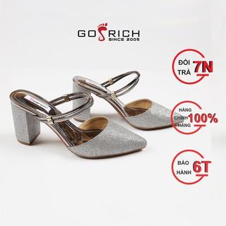 Giày cao gót nữ Gosrich kiểu sandal mũi nhọn hậu cách điệu vừa dép vừa sandal thời trang - Giày cao gót vuông 8cm -G006