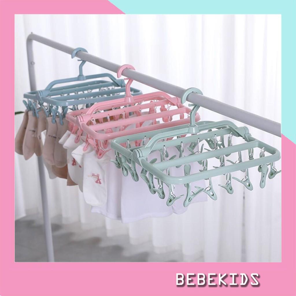 Móc quần áo sơ sinh, Mắc phơi đồ cho bé đa năng gấp gọn 32 kẹp giá cạnh  tranh