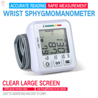 ET Electronic Blood-Pressure Monitor Home Use Wrist Type Sphygmomanometer Digital LCD Blood-Pressure Measurement Meter with Pulse Rate Detection