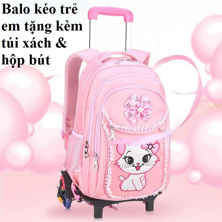 Balo Helo Kitty Có Tay Kéo Cho Bé, Balo Đi Học  (3-6)