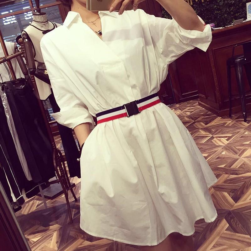 [ORDER] Đầm trắng thắt eo cổ sơmi #003