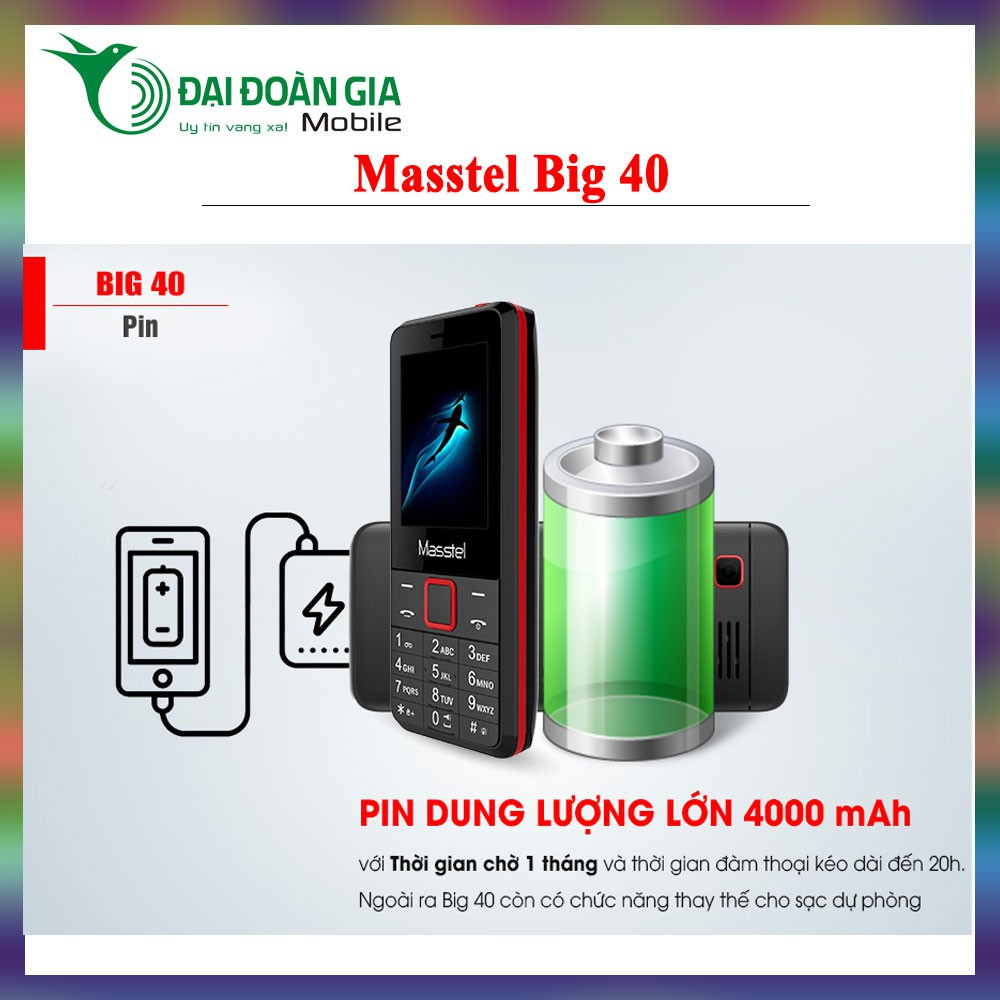 Điện thoại Masstel Big 40 - Pin 4000mAh cực khủng - 3535173 , 940559846 , 322_940559846 , 500000 , Dien-thoai-Masstel-Big-40-Pin-4000mAh-cuc-khung-322_940559846 , shopee.vn , Điện thoại Masstel Big 40 - Pin 4000mAh cực khủng