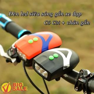 [RẺ VÔ ĐỊCH] Đèn gắng xe đạp 3 bóng – có còi [NAPPR]
