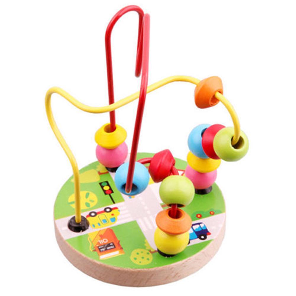 Boy Girl Kids Educational Puzzle Toy Mini Around Beads Wire Maze Pre School Toys