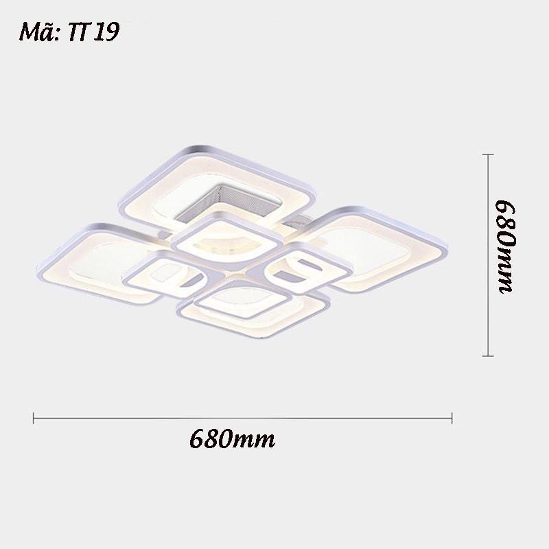 Đèn Trần Trang Trí TT19 - Đèn Led Trần Trang Trí Phòng Khách 8 Cánh Vuông 3 Chế Độ Sáng - Kèm Điều Khiển Từ Xa