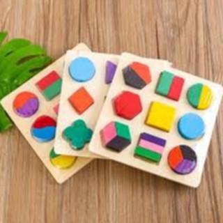 Combo 3 bảng gỗ hình học bảng xếp hình + Bộ đồ chơi cắt hoa quả gỗ 001