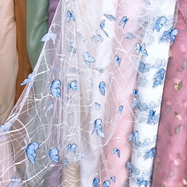 Vải lưới hình bướm 3D xanh blue khổ 1m5 may váy đầm, scrunchies
