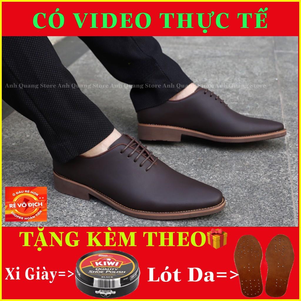 Giày tây nam cao cấp GT886 da bò nhập khẩu nguyên tấm phong cách dây buộc lịch lãm bảo hành 1 năm