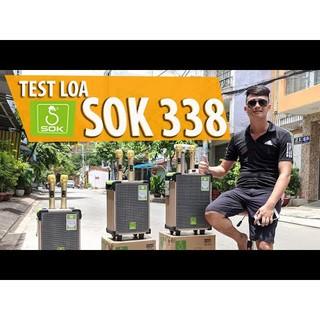 [Tặng kèm 2 micro k dây] Loa kéo di động SOK 338 bass 3 tấc âm thanh chuẩn chất lượng cao