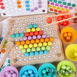 ⓗღ✯new Wooden Clip Beads Puzzle Board Kids Chopsticks Pratice Game Parent-child Interactive Toy