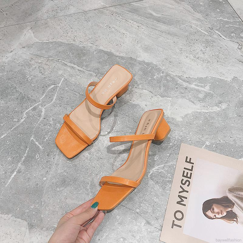 [Baywellfashion]Thick Heeled Korean Version Of The Simple Open-toe  High Heels
