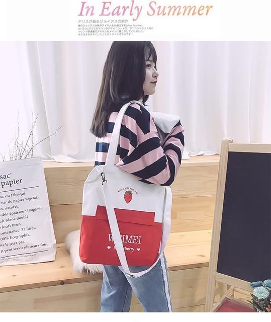 Tủi Vải Canvas Dày Dặn Hoạ Tiết Hoa Quả Weimei Hàng Loại 1 TVHQ18