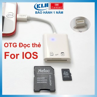 OTG đọc thẻ nhớ cho Iphone OT47, Ipad, Đầu đọc thẻ chân Lightning cắm là nhận chính hãng Earldom KLH