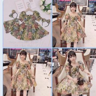 SIZE 8-35kg: Váy Hoa gấm kèm BỜM nơ siêu xinh cho bé gái - VGB